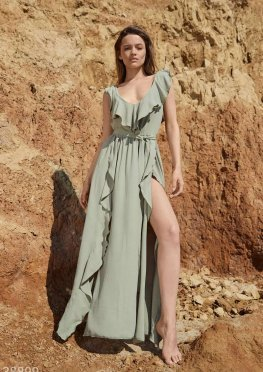 Платье-макси зеленого оттенка