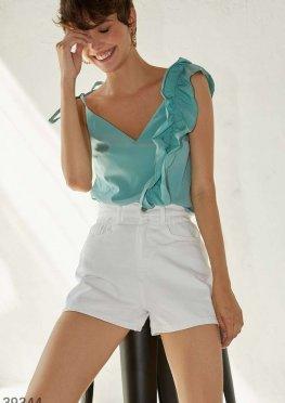 Мятная блуза с воланами