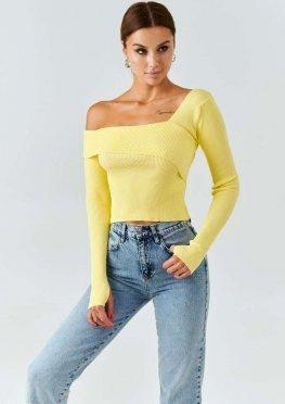 Желтый лонгслив на одно плечо