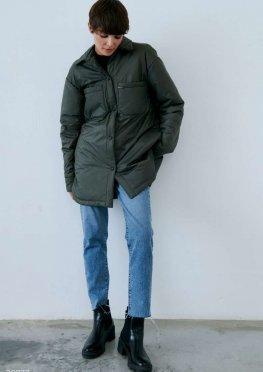 Куртка-рубашка с отложным воротником цвета хаки