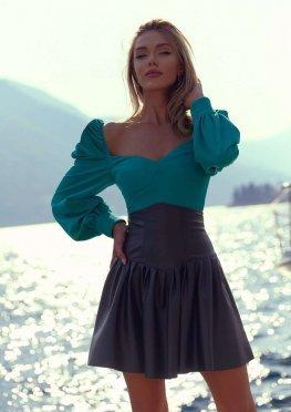 Черная юбка из эко-кожи