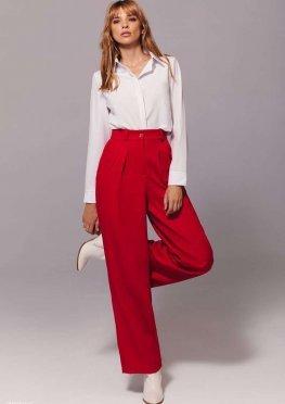Широкие брюки красного цвета