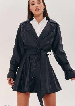 Черная куртка на запах из эко-кожи