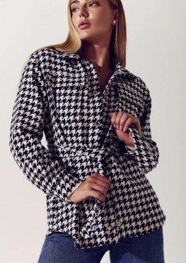 Трендовая куртка-рубашка в гусиную лапку