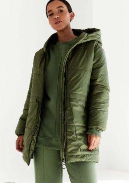 Куртка с затяжкой в поясе оливкового