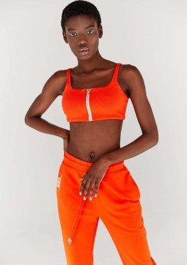 Трикотажный оранжевый топ