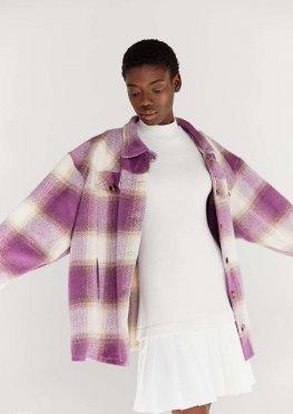 Лавандовая куртка-рубашка в клетку