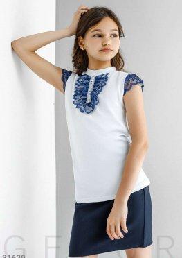 Блуза с контрастным кружевом