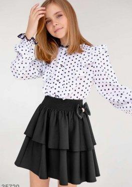Черная многоярусная юбка-клеш