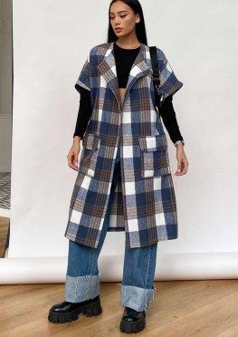 Пальто без рукавов Олье синий