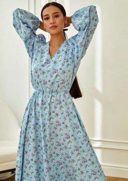 Платье Рут без ремня голубой