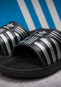 Шлепанцы мужские в стиле Adidas FlipFlops, черные (13632),  [  43 46  ]