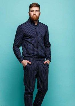 Мужской костюм Алекс синий принт полоска