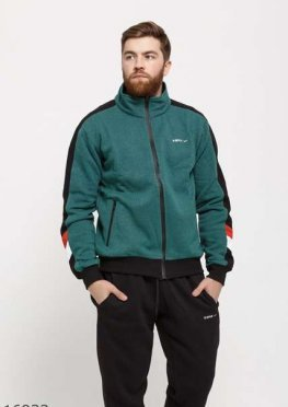 Мужской утепленный спортивный костюм 16933 черный зеленый