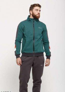 Мужской утепленный спортивный костюм 16934 серый зеленый