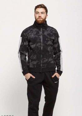 Мужской утепленный спортивный костюм 16936 черный принт