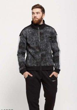 Мужской утепленный спортивный костюм 16937 черный принт