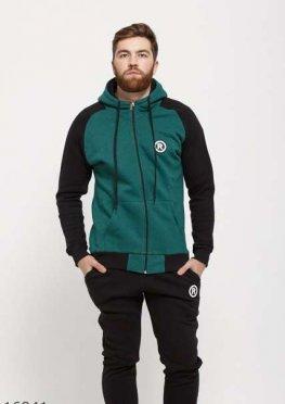 Мужской утепленный спортивный костюм 16941 черный зеленый