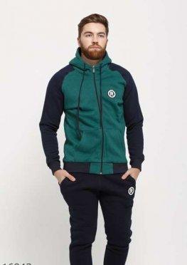 Мужской утепленный спортивный костюм 16943 синий зеленый