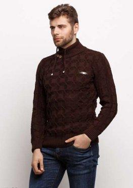 Мужской свитер 17423 коричневый
