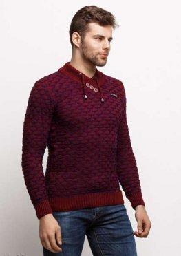 Мужской свитер 17426 бордовый синий