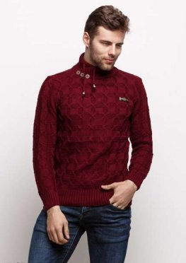 Мужской свитер 17427 бордовый