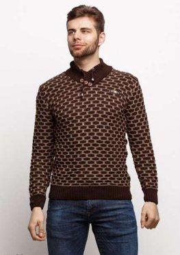 Мужской свитер 17429 коричневый