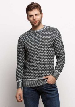 Мужской свитер 17443 темный зеленый серый