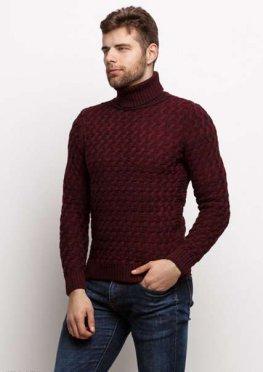 Мужской свитер 17447 бордовый