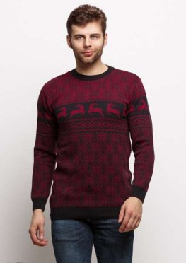Мужской свитер 17457 бордовый принт