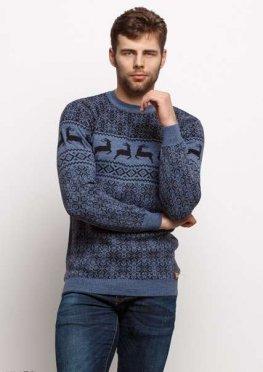 Мужской свитер 17458 синий принт