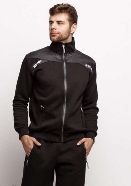 Мужской утепленный спортивный костюм 17467 черный