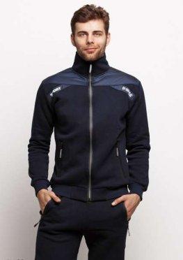 Мужской утепленный спортивный костюм 17468 темный синий