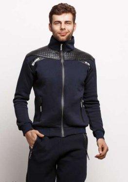 Мужской утепленный спортивный костюм 17469 темный синий