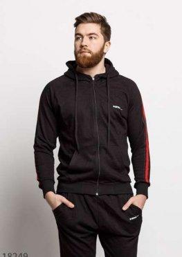 Мужской спортивный костюм 18249 черный красный
