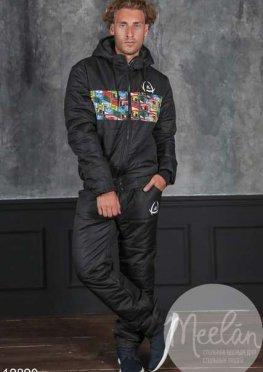 Мужской утепленный спортивный костюм 19890 черный принт