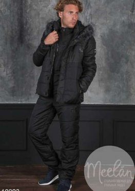 Мужской утепленный спортивный костюм 19892 черный