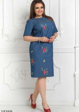 Женское платье 18369 джинс красный