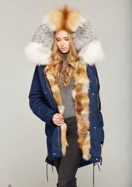 Mila Nova Зимняя парка с мехом П-46 Синий Gold Fox