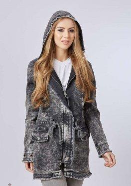 Mila Nova Джинсовая куртка удлиненная Q-14 Светло-серая
