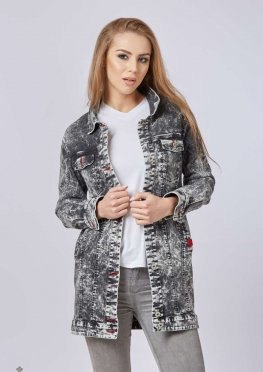 Mila Nova Джинсовая куртка удлиненная Q-31 Черная