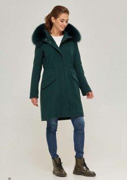 Mila Nova Зимняя парка-пальто П-58 Зелёная