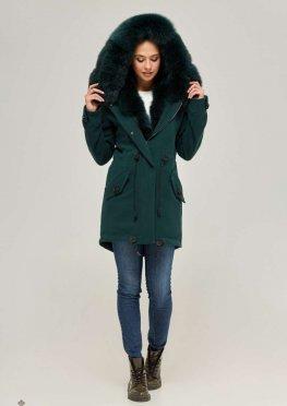 Mila Nova Зимняя парка-пальто П-60 Зелёная