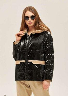 Mila Nova Куртка К-151 Черная + бежевая