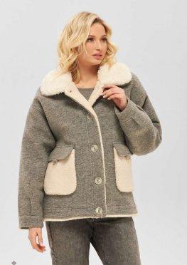 Mila Nova Пальто ПВ-221 серый