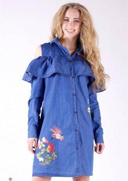 Mila Nova Джинсовая рубашка-платье Ф-8 колибри