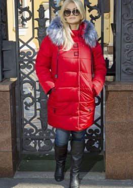 Зимняя женская длинная куртка красная