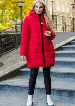 Красная удлиненная зимняя женская куртка