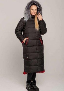 Зимнее пальто-куртка ниже колена черное