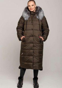 Длинное пальто-куртка на зиму в цвете хаки